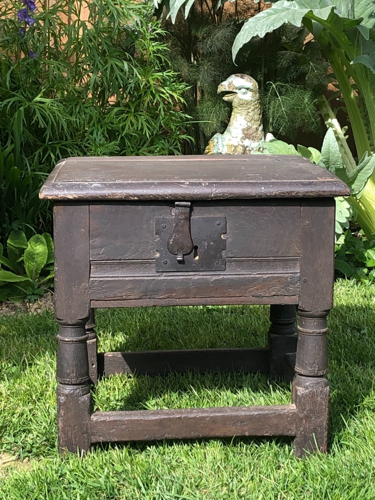 A Rare 17th Century  Charles I Oak Box Stool.SOLD