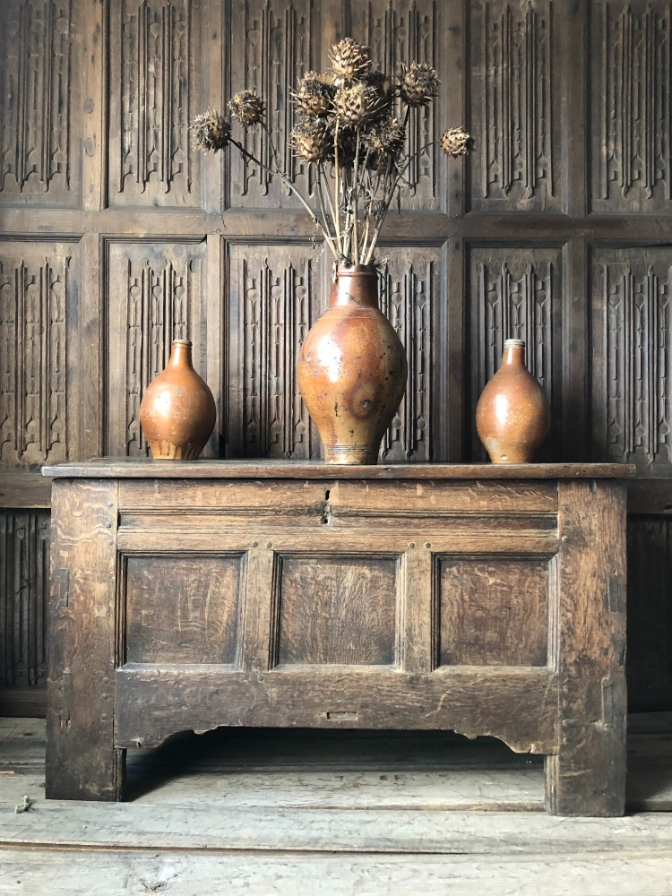 A Rare Late 16th Century Oak Clamp Fronted Ark Chest.  SOLD