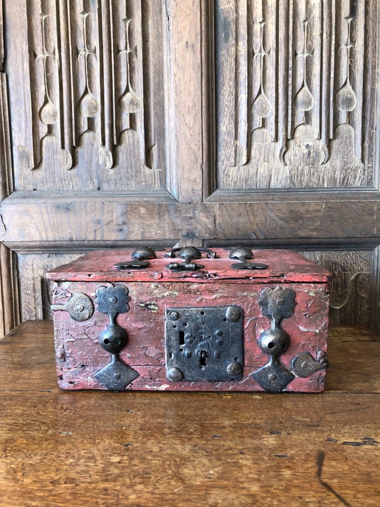 A 15th Century Iron Bound Box With Later Raspberry Paint SOLD