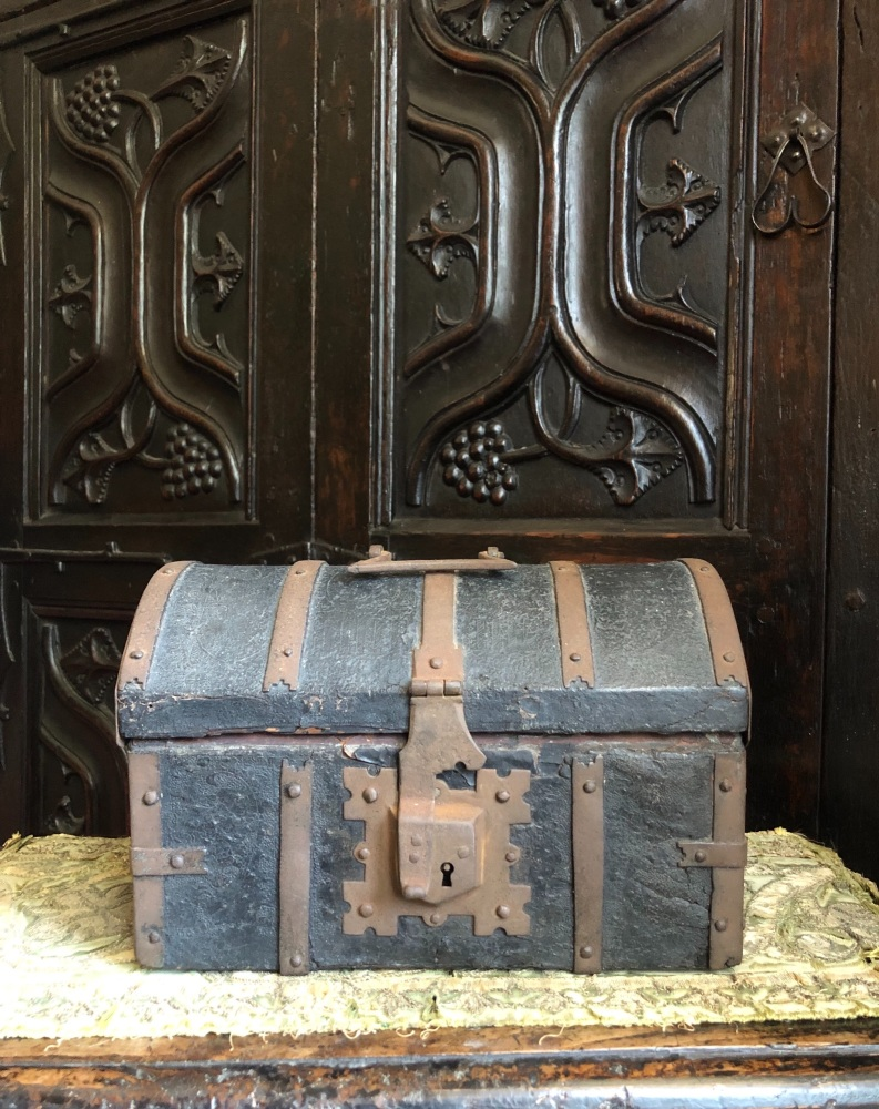 A Rare 15th Century Gothic Leather And Iron Bound Casket With Purchase Receipt From S.W.Wolsey Dated 1959 SOLD