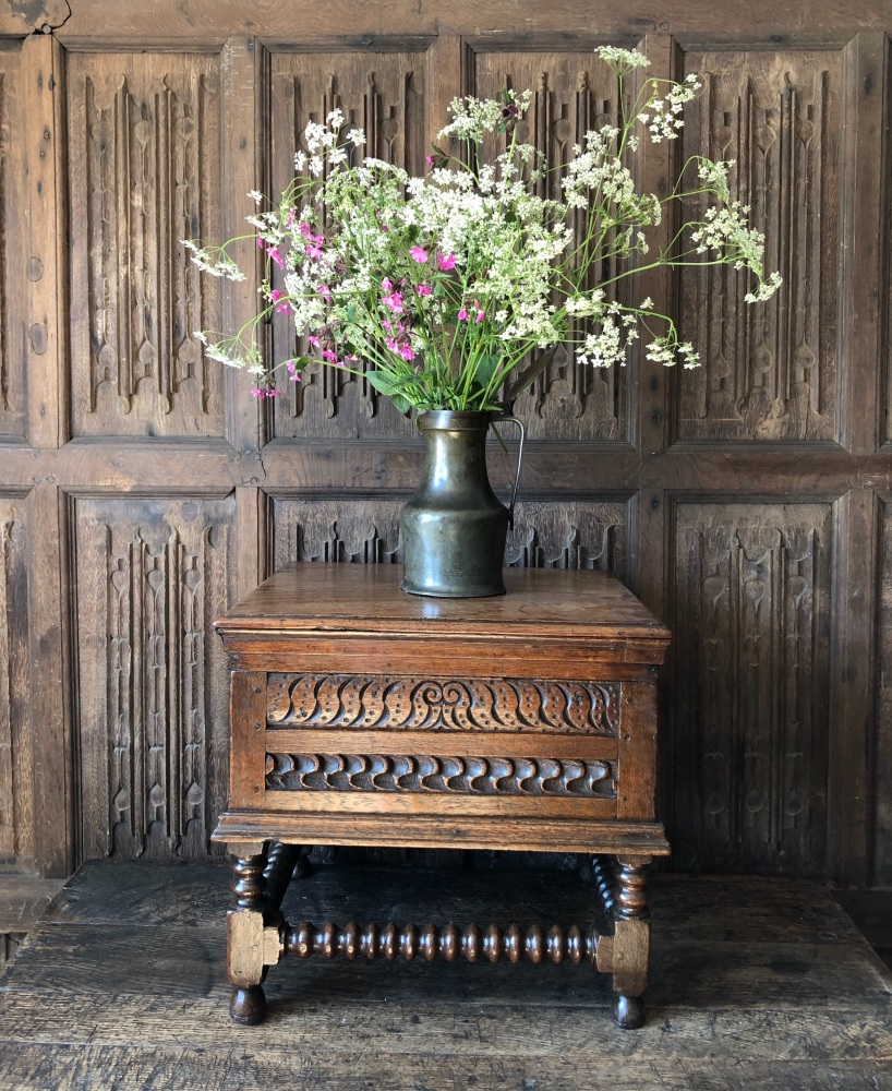 17th Century Carved Oak Box Stool.SOLD