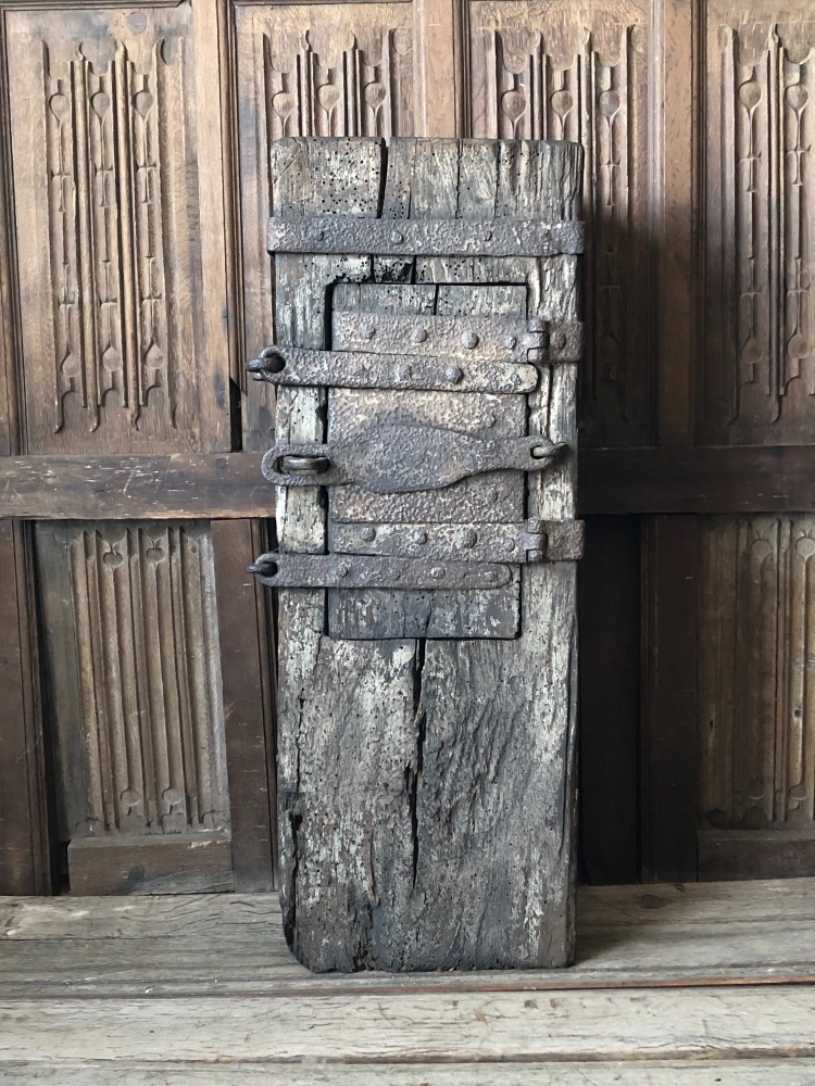 A Rare 15th Century Oak And Iron Bound Dug Out Offertory Box SOLD