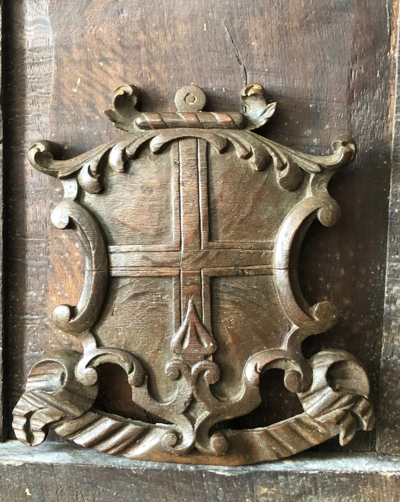 A Decorative 18th Century Carved Oak Coat Of Arms.