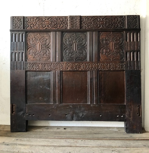 18th Century Carved Oak Head Board