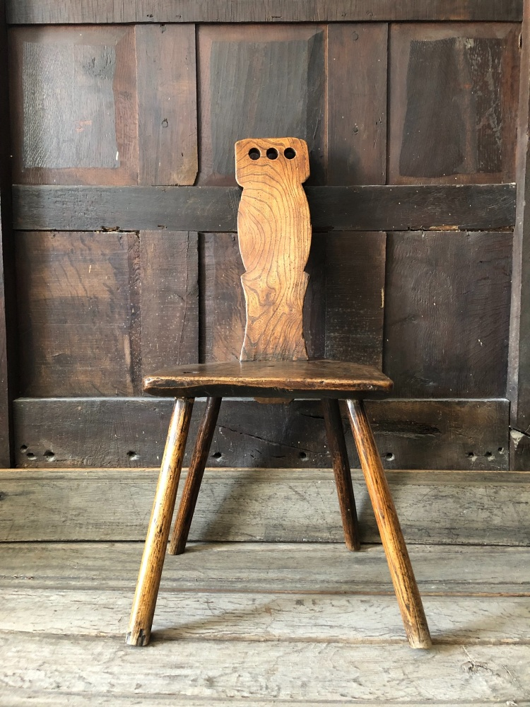 A Wonderful 18th Century Welsh Ash Spinning Chair Of Primitive Form