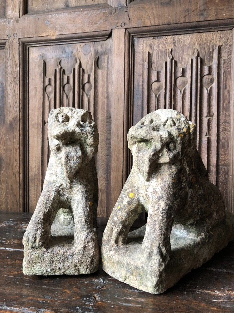 A Unique Pair Of Henry VIII Period Carved Stone Lions Probably From A Tomb