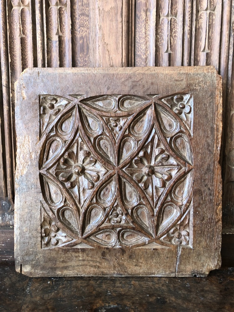 A 16th Century English Gothic Oak Tracery Panel.