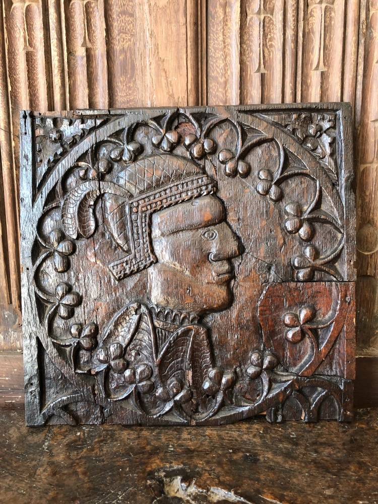 A Rare Henry VIII Period Carved Oak  Profile Panel.