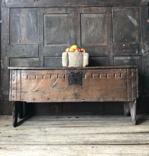 A Wonderfully Tactile Henry VIII Tudor Carved Oak Boarded Chest .English Ci