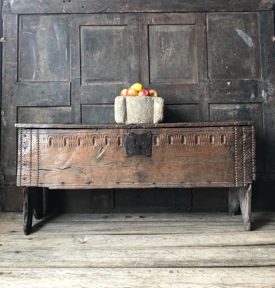 A Wonderfully Tactile Henry VIII Tudor Carved Oak Boarded Chest .English Circa 1520 SOLD