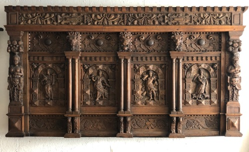 An Elizabethan Carved Oak Overmantle Depicting The Four Virtues Of Monument