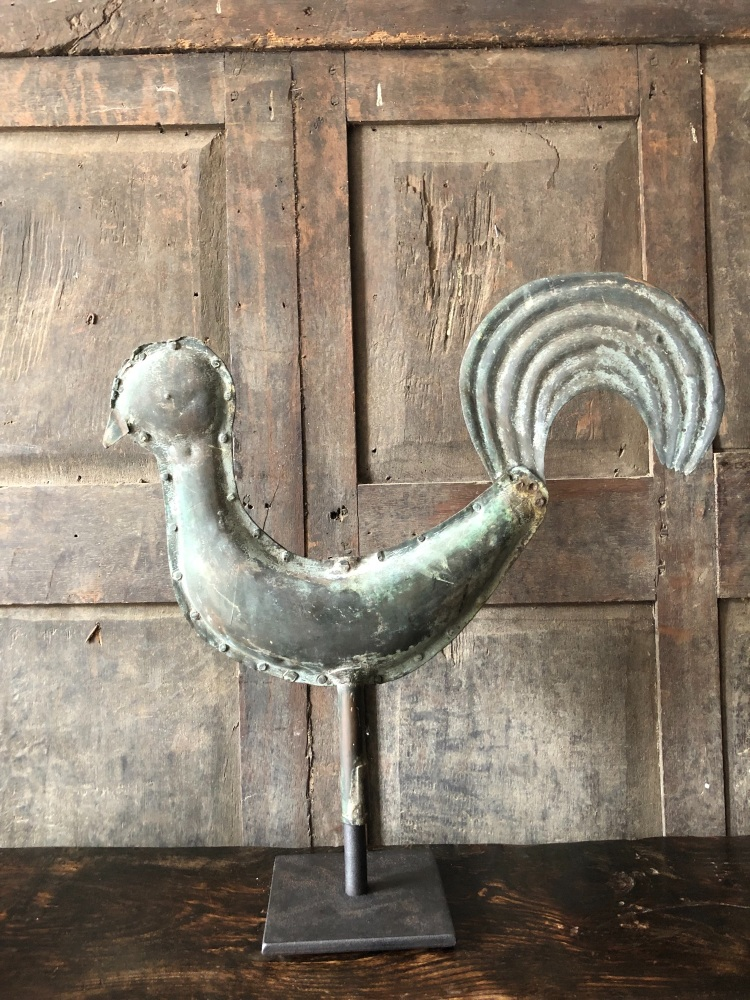 A 19th Century Folk Art Weathervane In The Form Of  A Full Bodied Cockerel