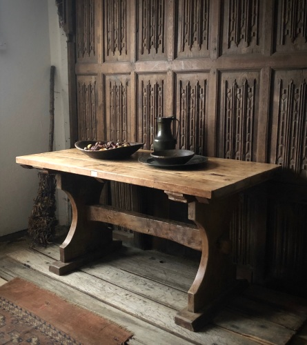 An Oak Trestle Table Constructed From 13th Century Timber From Roydon Paris