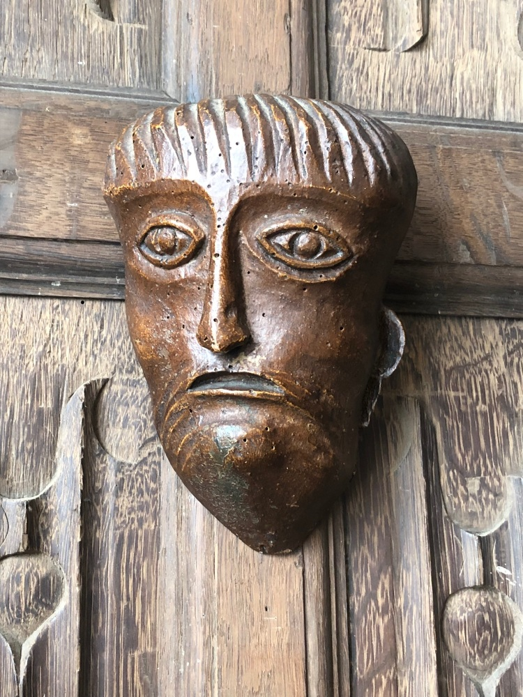 A Rare Carved Norman Head Of Christ.