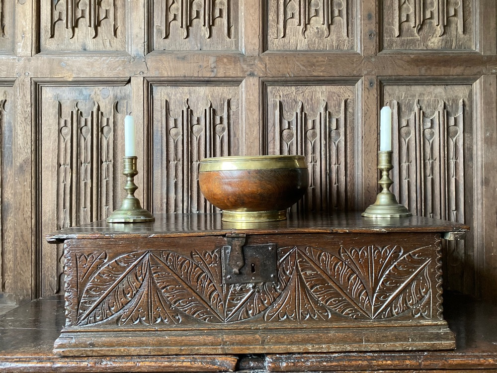 A Fine 17th Century Carved Oak Bible Box  Illustrated in A Discourse On Boxes And Trees Chests And Boxes By A. J. Conybeare