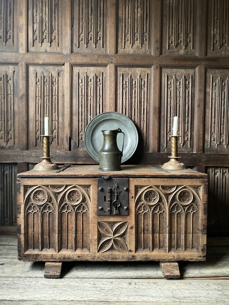 A Rare 15th Century Gothic Carved Oak Chest Circa 1450