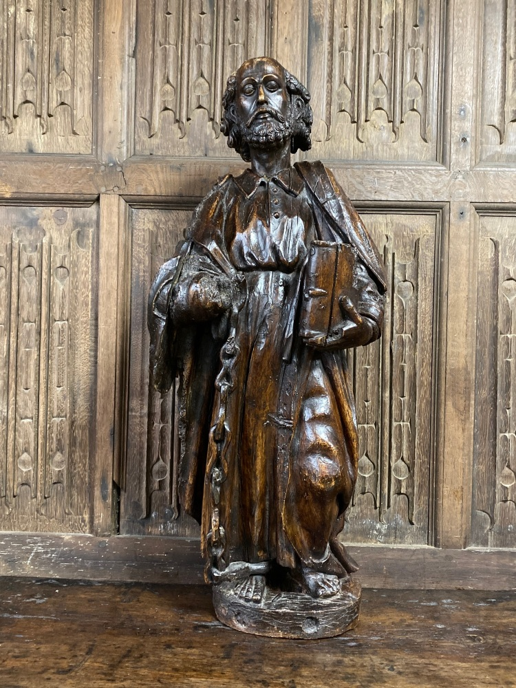 A 16th Century Carved Walnut Sculpture Depicting St Leonard Of Noblac