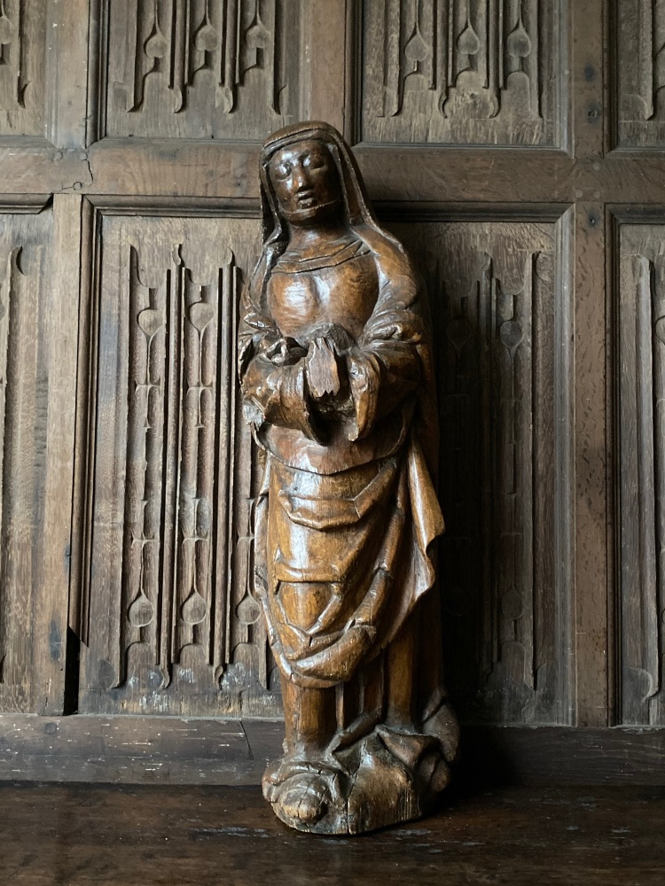 A 15th Century Carved Oak Sculpture Depicting Mary Magdalene Circa 1450