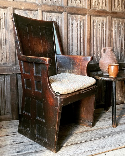 A one of a kind 18th Century Oak Yeomans Chair  SOLD