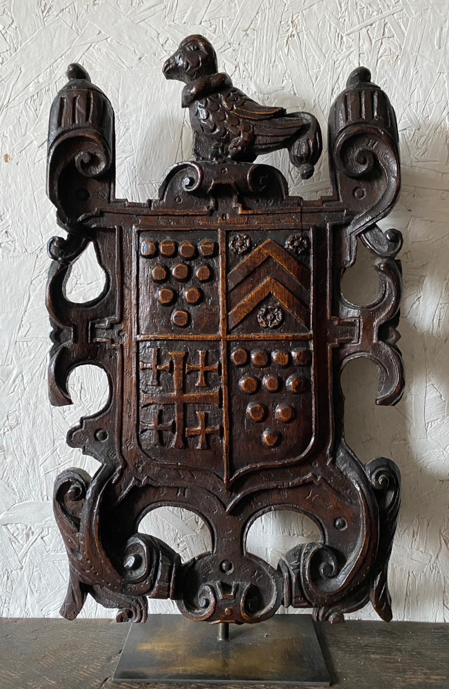 A Rare 16th Century Carved Oak Armorial Panel For Sir John Zouche of Codnor