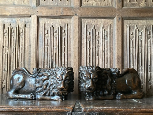A Great Pair Of 18th Century Carved Walnut Lion Supports.