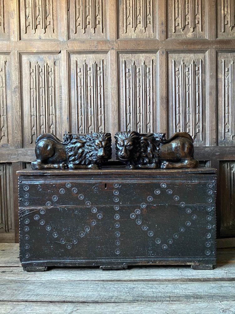 A 17th Century Welsh Oak Boarded Chest With Monmouthshire Bullseye Design.