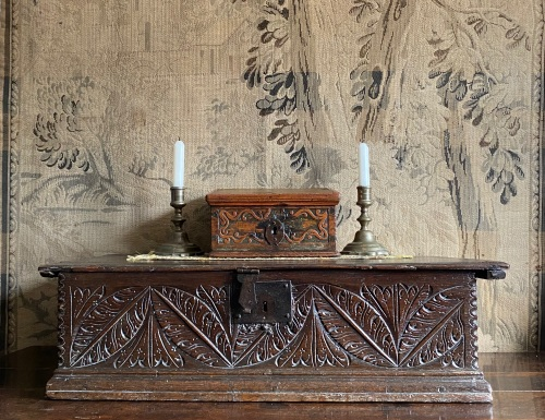 A Delightful 17th Century Carved Pine And Painted Slope Of Diminutive Size.