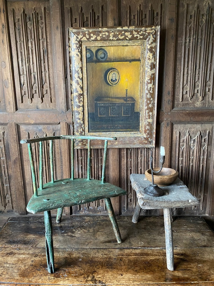 A Late 18th Century Childs Stick Back Chair With Original Green Paint.