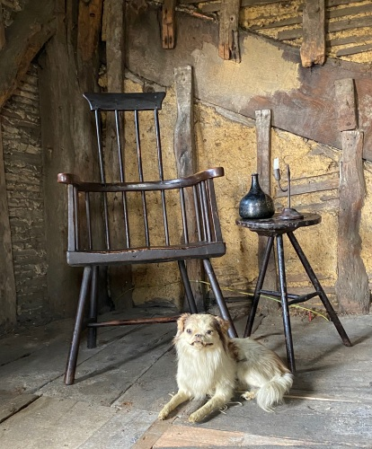 A Wonderful 18th Century Welsh Primitive Comb-Back Stick Chair.
