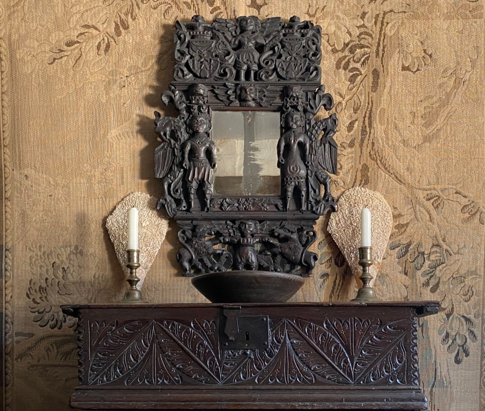 An Extremely Rare Late 17th Century Carved Oak Framed Mirror designed to celebrate a Marriage. SOLD