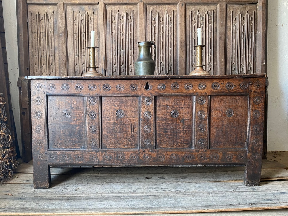 A 17th Century Carved Oak Welsh Coffer With The Monmouthshire Bullseye.SOLD