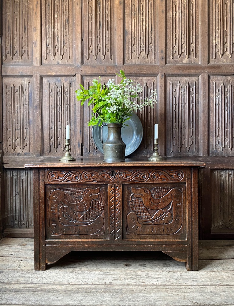 A Fine 17th Century West Country Oak Coffer Of Small Size Carved With Wyverns.SOLD