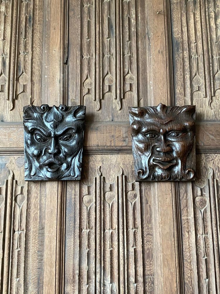 A Pair Of Devilish 18th Century Carved Oak Grotesques.