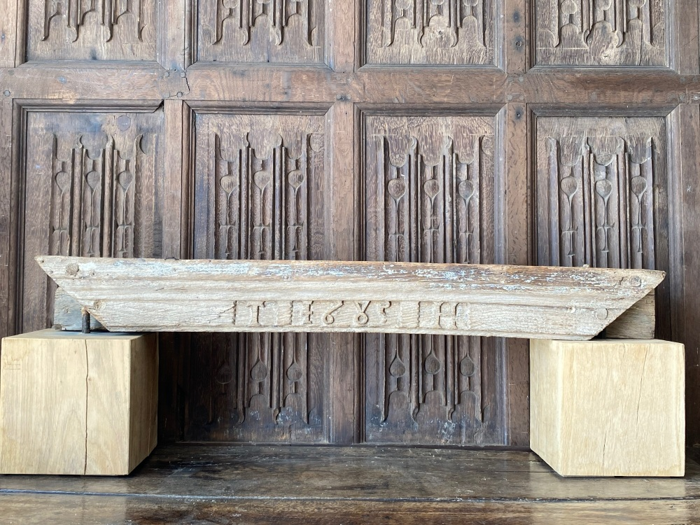 A 17th Century Oak Door Lintel Carved TH1685 SOLD