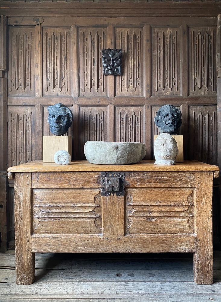 A Rare 16th Century Oak Linenfold Chest Of Natural Colour  SOLD