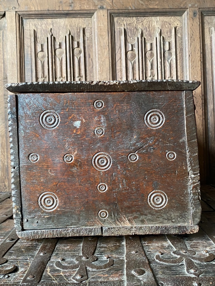 A Rare Charles 1st Carved Oak Welsh Bible Box Of Small Proportions With Monmouth shire Bullseye Deign