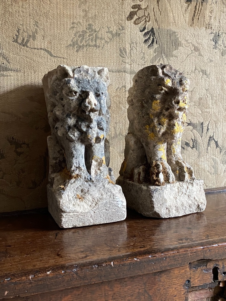 A Pair Of 18th Century Carved Stone Standing  Lions.SOLD