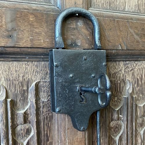 17th Century Shackle Tail Padlock With Working Key.