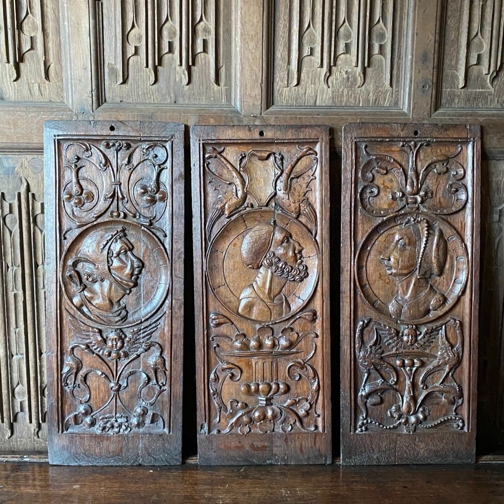 A Wonderful Set Of Three 16th Century Oak Profile Portrait Panels Of The Highest Quality.