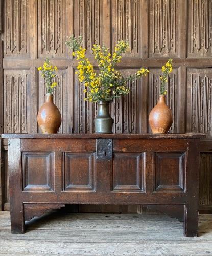 A Late 16th Century Oak Coffer Of Hybrid Construction.