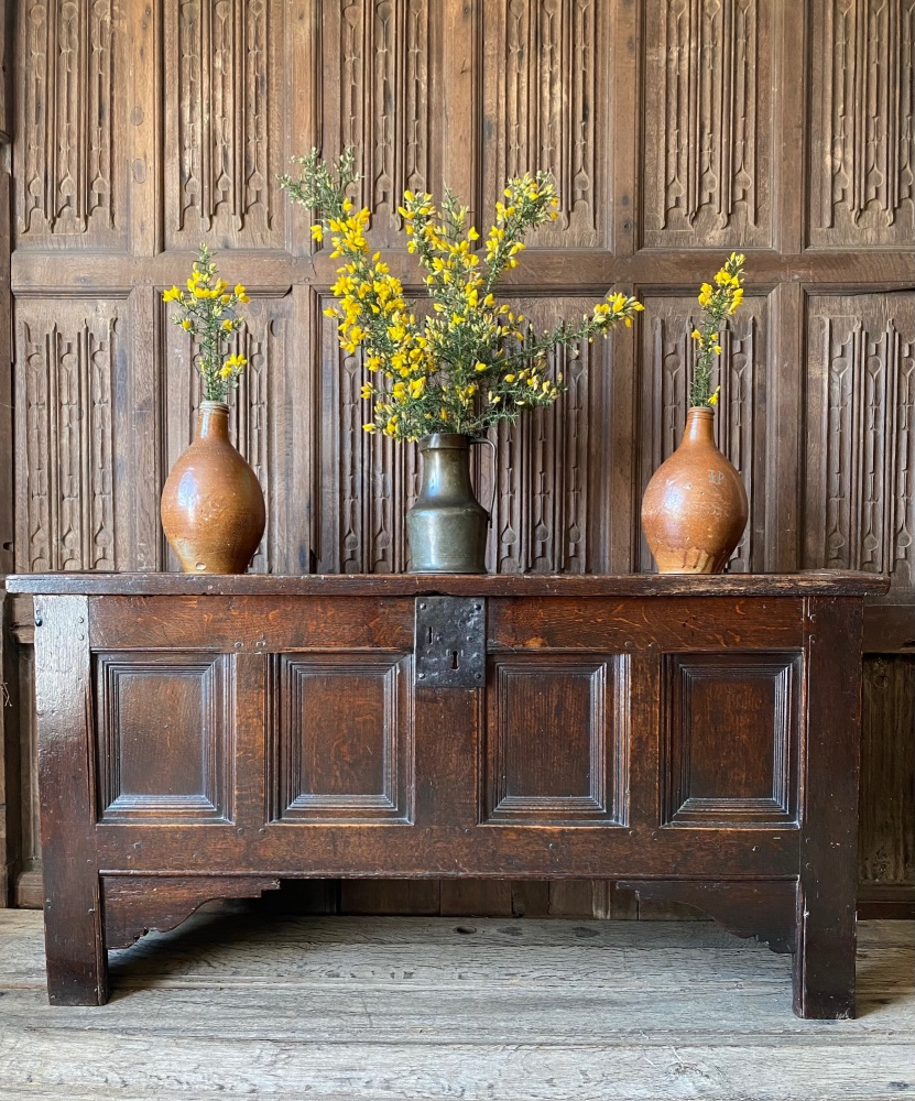 A Late 16th Century Oak Coffer Of Hybrid Construction.