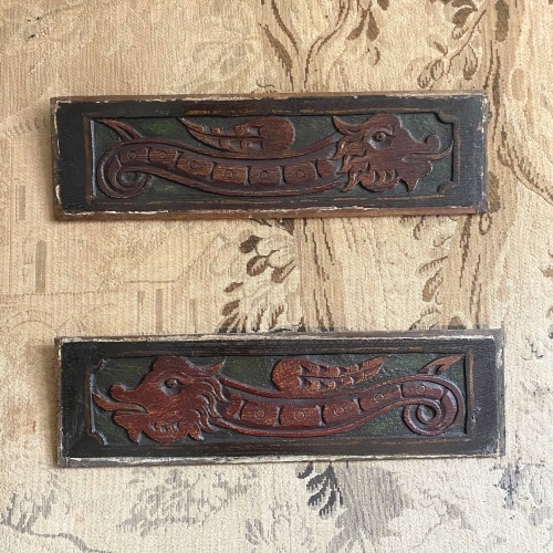 A Decorative Pair Of 17th Century Carved Oak Dragon Panels With Green And R