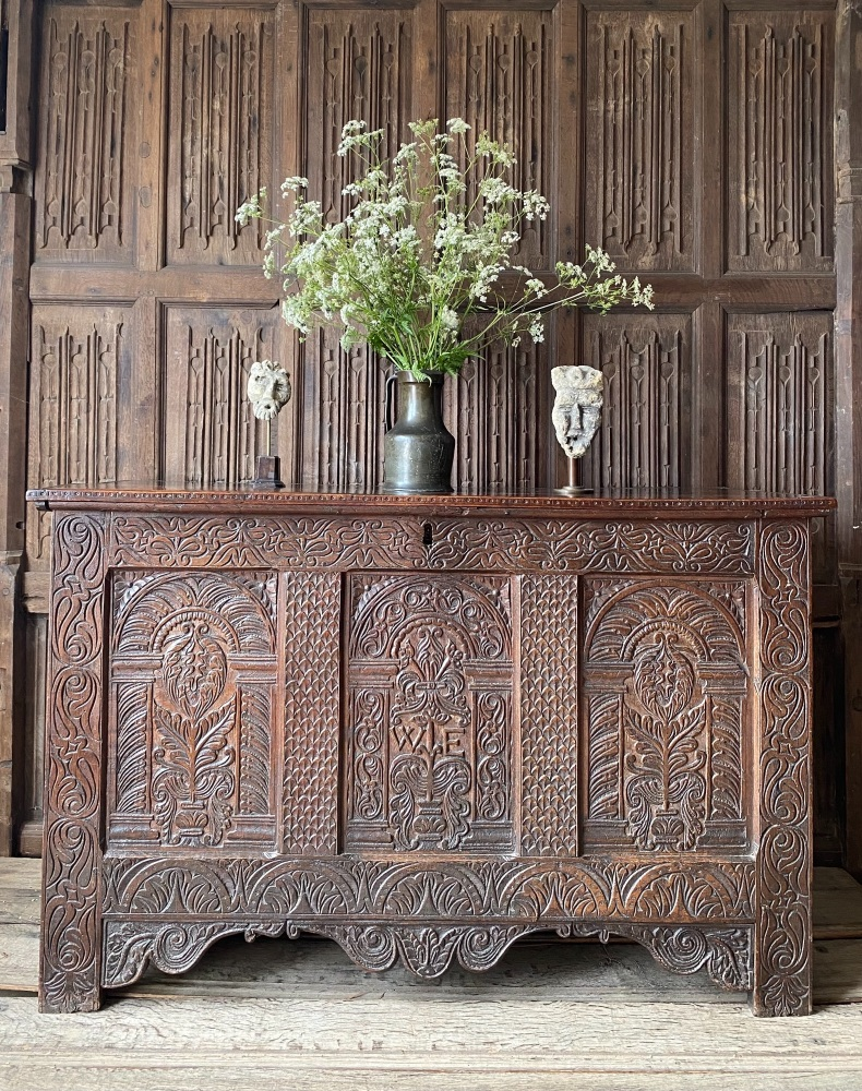 A 17th Century Carved Oak Coffer From The Workshop Of Thomas Dennis Exeter.