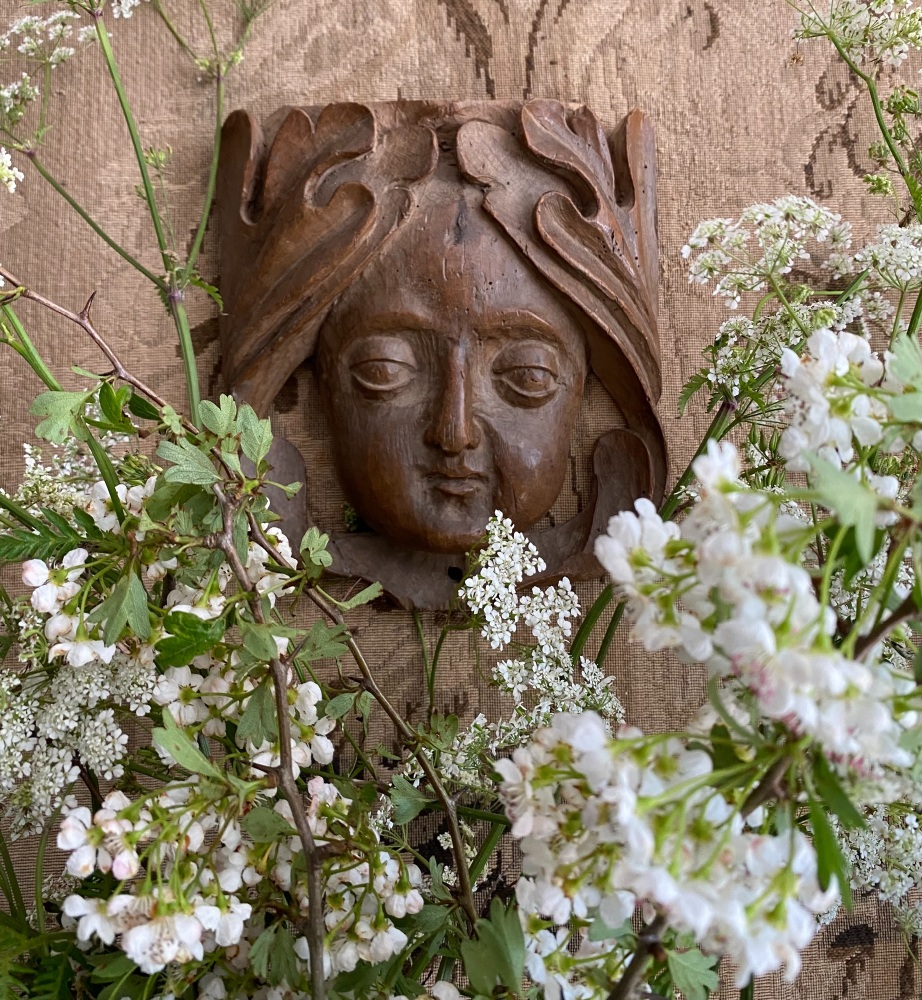 A  Rare 16th Century Carving Depicting A Green  Woman Head. SO LD