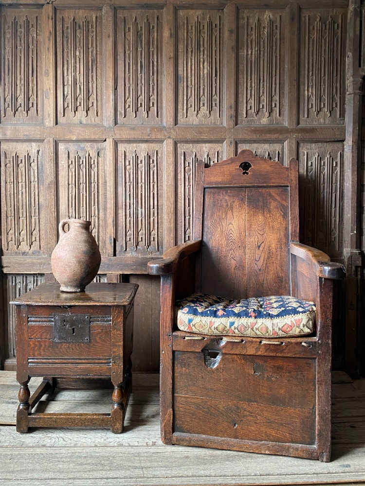 A Superb 17th Century Oak Box Stool.