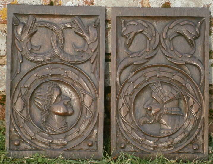 english romayne panels with beasts 1