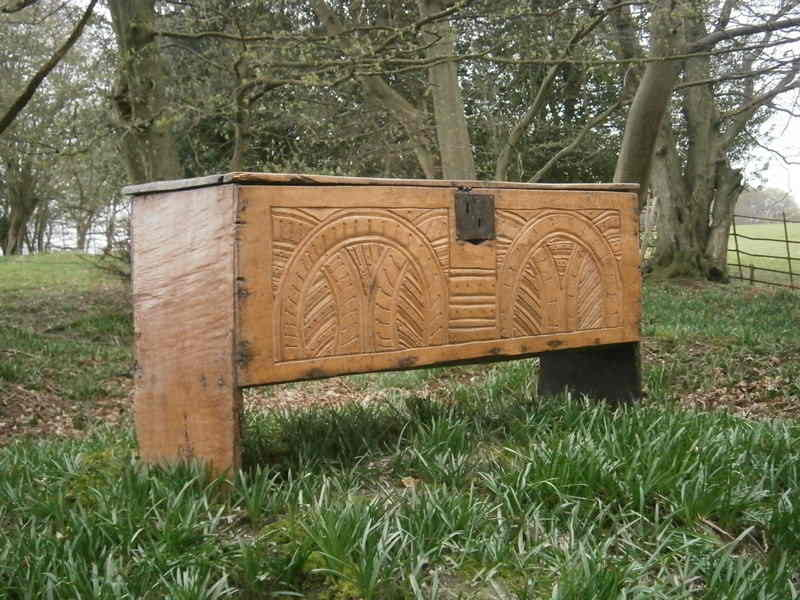 Carved board chest 1