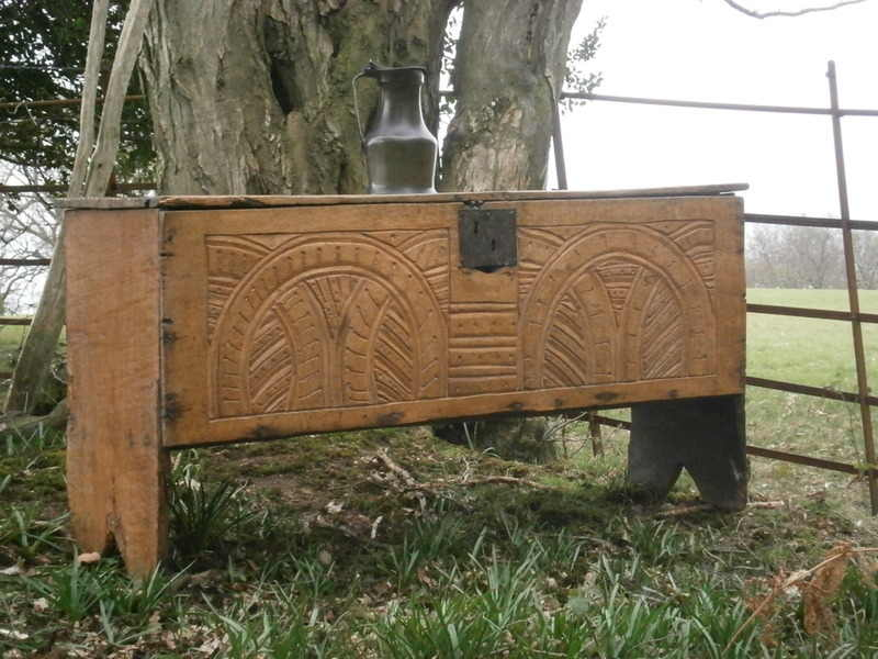 carved oak board chest 3