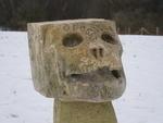 18th century carved stone skull memento mori corbel with Latin inscription