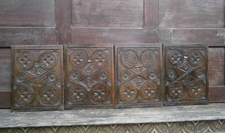 set of four 17th century panes 1670